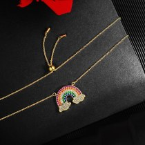 Rainbow Necklace Mori Style Japanese and Korean New All-Match Girls' Clavicle Chain Necklace Wholesale