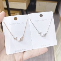 Korean Dolphin Fish Begonia Necklace Women's Fashion Clavicle Chain Necklace Rose Gold Clavicle Necklace Women's Jewelry