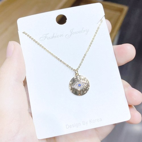 Micro-Inlaid 3A Zircon Personality Devil's Eye Necklace Female Clavicle Chain 14K Gold Necklace Female Jewelry Wholesale