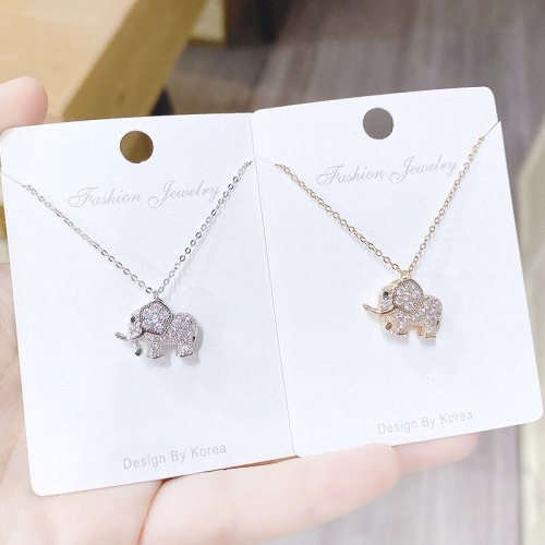 Small Elephant Diamond-Embedded Simple Necklace Cute Sweet Temperament Personality Animal Clavicle Chain Pendant Female Jewelry