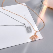 Abacus Necklace Japanese and Korean New All-Match Diamond-Embedded Creative Pendant Girls Clavicle Chain Wholesale