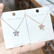 Korean Micro Diamond All-Match Necklace Rose Gold Plated Five-Pointed Star Pendant Fashion XINGX Girl Necklace Clavicle Chain