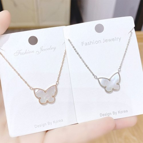 Japanese and Korean Style Cute Necklace Diamond Bow Lady Necklace Beautiful Daily Wear Street Shot Clavicle Chain Pendant