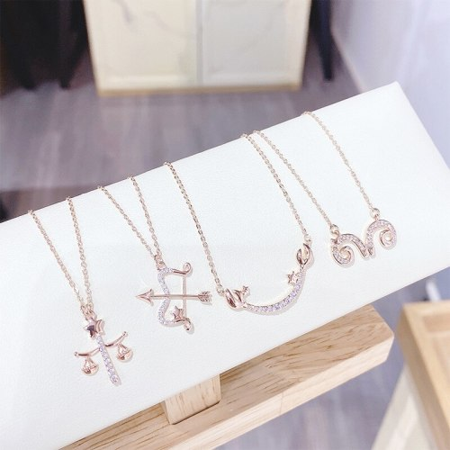 Twelve Constellation Necklace Pendant Environmental Protection Electroplating Real Gold Clavicle Chain European Female Jewelry