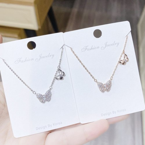 Butterfly Full Diamond Zircon Mori Style Girls' Clavicle Chain Necklace All-Match Necklace Wholesale