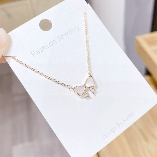 Korean-Style Electroplated Gold Short Necklace Bow Zircon Elegant Women's Clavicle Chain Pendant