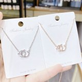Women's Korean-Style High-Grade Double C Necklace Rose Gold Clavicle Chain Ins Elegant Necklace Necklace