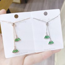 New Style Micro-Inlaid Zircon Fan-Shaped Small Skirt Necklace Korean Style Popular Clavicle Chain Adjustable Female Necklace