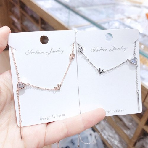 Love Letter Rose Gold Plated Necklace Korean Style New Clavicle Chain Pendant Love Micro Inlaid Zircon Girl Necklace Wholesale