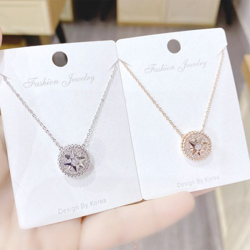 New Rotatable Compass Necklace Fashion Eight Awn Star Pendant Female Clavicle Chain Pendant Ornament