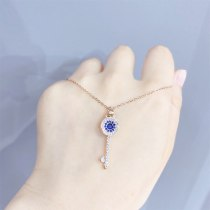 Devil's Eye Key Girls' Necklace Japanese and Korean New Fashion Diamond-Embedded Zircon Clavicle Chain Necklace Wholesale