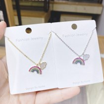 Rainbow Necklace Women's Seven-Color Micro-Inlaid 3A Zircon Clavicle Chain Pendant Electroplated Real Gold Shell Necklace