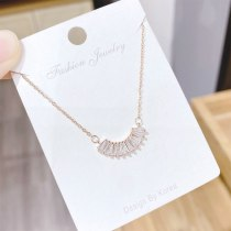 European Micro-Inlaid 3A Zircon Necklace Simple Copper Plating Real Gold Women's Clavicle Chain Pendant Necklace Ornament
