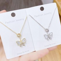 New Fritillary Clavicle Chain Necklace Korean Zircon Bow Long Sweater Chain Personalized Fashion Super Fairy Necklace for Women