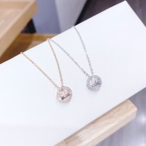 Korean Style Necklace Women's Fashion Rose Gold Ring Buckle Necklace Zircon Short Clavicle Chain Necklace