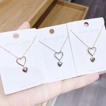 Korean Style Heart-Shaped Necklace Women's Clavicle Chain Ocean Heart Pendant Peach Heart Necklace Necklace Ornament Wholesale