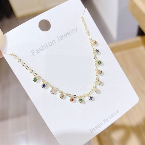 New Simple Water Drop Color Zircon Necklace Clavicle Chain Ins All-Match Necklace Women's Jewelry