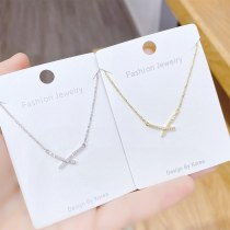 New Electroplated Real Gold Bow Necklace Female Clavicle Chain Pendant Ornament
