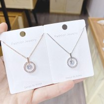 Micro Diamond Necklace Korean Fashion Simple Pendant Girls' Colorful Zircon Necklace Clavicle Chain Wholesale