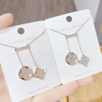 Clover Necklace Female French Geometric Diamond Square White Shell Clavicle Chain Jewelry Wholesale