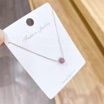Mori Girl's Simple All-Match Necklace Clavicle Chain Pendant Korean New Diamond Ball Necklace