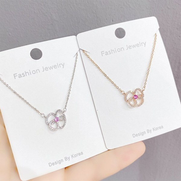 New Micro-Inlaid Diamond Peach Heart Necklace Female Clover Zircon Clavicle Chain Pendant Jewelry