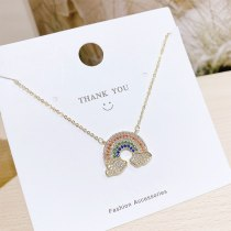 Fashion Trendy Rainbow Necklace Women's Korean-Style Elegant All-Match Personalized Clavicle Chain Pendant Wholesale