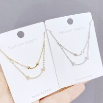 Micro-Inlaid Light Luxury Full Diamond Smiley Face Necklace Clavicle Chain Ins Mori Girl Korean Simple All-Match Smile Necklace