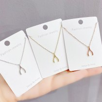 New Electroplated Real Gold Geometric Necklace for Women Ins Style Simple Clavicle Chain Pendant Jewelry