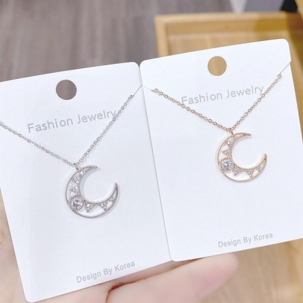 New Moon Necklace Female Micro-Inlaid 3A Zircon Clavicle Chain Environmental Protection Electroplating Pendant Jewelry Wholesale