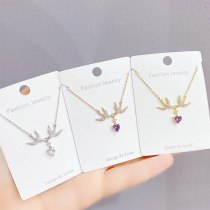 Micro-Inlaid 3A Zircon 14K Gold Necklace Women's Korean-Style Fashion Clavicle Chain Pendant Jewelry