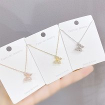 Butterfly Necklace Fashion Korean Style Full Diamond Pendant Fairy Sweet Clavicle Chain Pendant Ornament