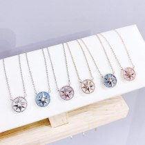 Fashion Lucky Eight Awn Star Compass Pendant Women's Japanese and Korean New Simple Temperament Necklace