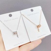 New Rhinestone Lock Key Necklace Women's Simple Fresh Trendy Cross Clavicle Chain Pendant Ornament