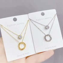 New Dual-Use Necklace Women's Micro-Inlaid Zircon Clavicle Chain Pendant Fashion Personalized Necklace 398