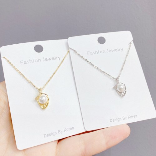 All-Match Pearl Pendant Necklace Women's Clavicle Chain Simple Elegant Jewelry Korean Style College Collar
