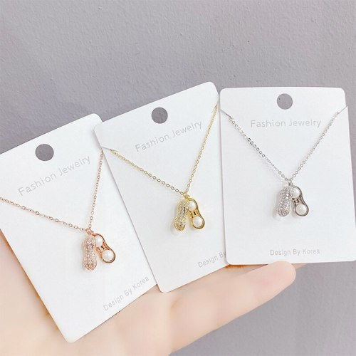 Korean Fashion Pearl Peanut Necklace All-Match Environmental Protection Clavicle Chain Pendant Ornament Wholesale
