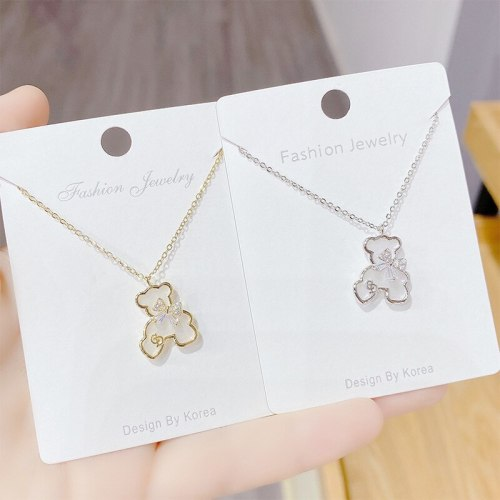 New Necklace for Women Ins Korean Style Bear Shell 14K Gold Exquisite Clavicle Chain Pendant for Women Jewelry