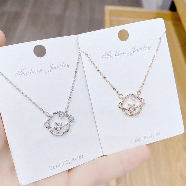 Fantasy Planet Girl Zircon Necklace Japanese and Korean New Planet Clavicle Chain Pendant Necklace Wholesale