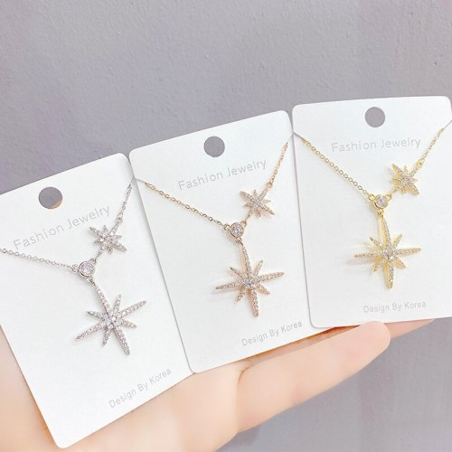 Eight Awn Star French Necklace Women's Summer New Fashion Full Diamond Clavicle Chain Pendant Women's Jewelry