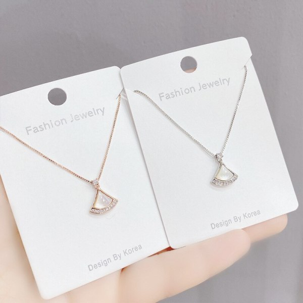 Shell Small Skirt Necklace Female Sweet Super Fairy Simple White Fritillary Fan-Shaped Clavicle Chain Pendant Necklace