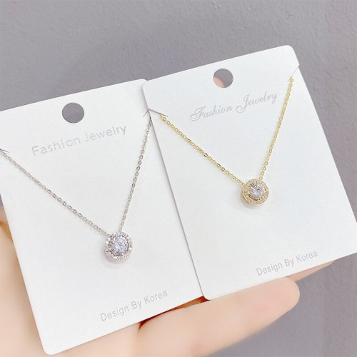 New Zircon Circle Necklace Female Personality Fashion Clavicle Chain Pendant Jewelry Wholesale