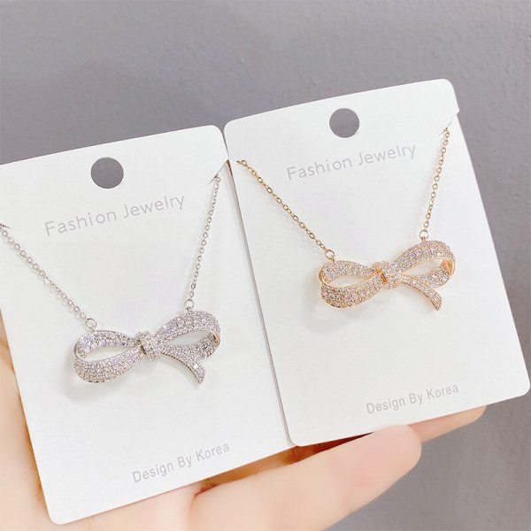 Women's Korean-Style Diamond Bow Necklace with Rose Gold Pendant