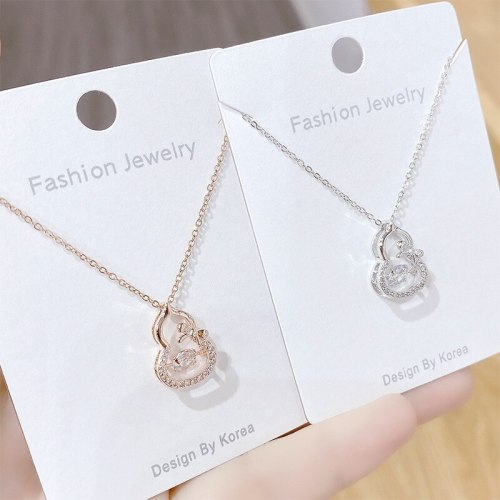 Micro Diamond Gourd Smart Necklace Female Temperament Beating Gourd Clavicle Chain Pendant Ornament