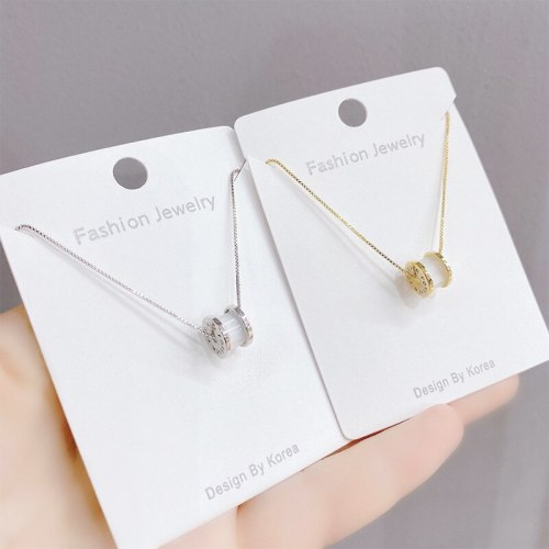 Korean Style Fashionable Simple Clavicle Sweater Chain Long Small Waist Pendant Opal Necklace Women's Jewelry