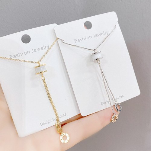 Korean Style Roman Digital Chalcedony Necklace Elegant Women's Simple All-Match Clavicle Chain Fashionable Tassel Short Chain