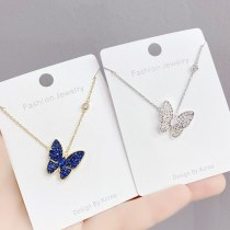 Butterfly Necklace Fashion Korean Style Full Diamond Pendant Fairy Sweet Little Fairy Clavicle Chain Pendant Ornament