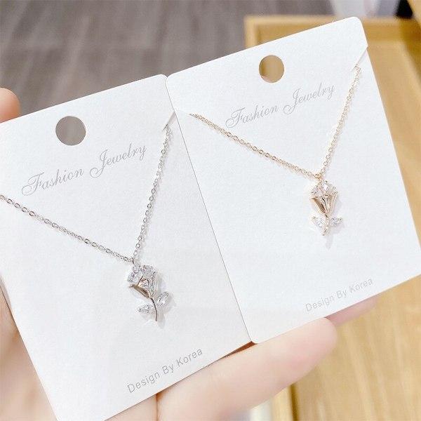 Rose Girl Zircon Necklace Mori Fashion All-Match Clavicle Chain Korean Pendant Ornament
