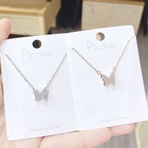 Small Fashion Butterfly Necklace Fashion Korean Style Full Diamond Pendant Fairy Sweet Little Fairy Clavicle Chain Jewelry