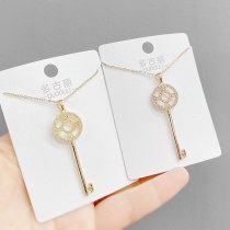 Key Necklace Women's New Personalized Micro-Inlaid Zircon Clavicle Chain Pendant Fashion Trend Necklace